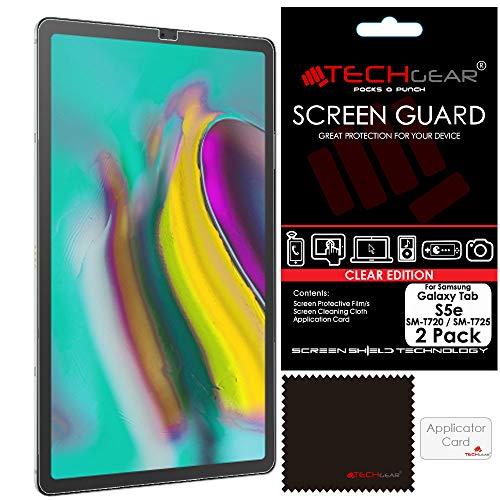 TECHGEAR [2 Stück Displayschutz für Samsung Galaxy Tab S5e 10,5 Zoll (SM-T720 / SM-T725), Ultra Klare Schutzfolie für Galaxy Tab S5e 10,5 (SM-T720 Serie) mit Reinigungstuch + Applikationskarte T720 Serie