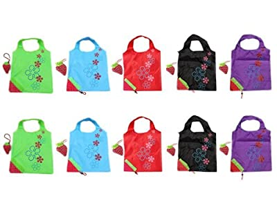 safeinu SKL Pack of 2 strawberry Reusable Foldable Shopping ECO Bags