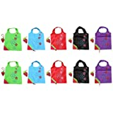 SKL Pack of 10 strawberry Reusable Foldable Shopping ECO Bags with pouch shoulder Tote,5 Assorted Colors