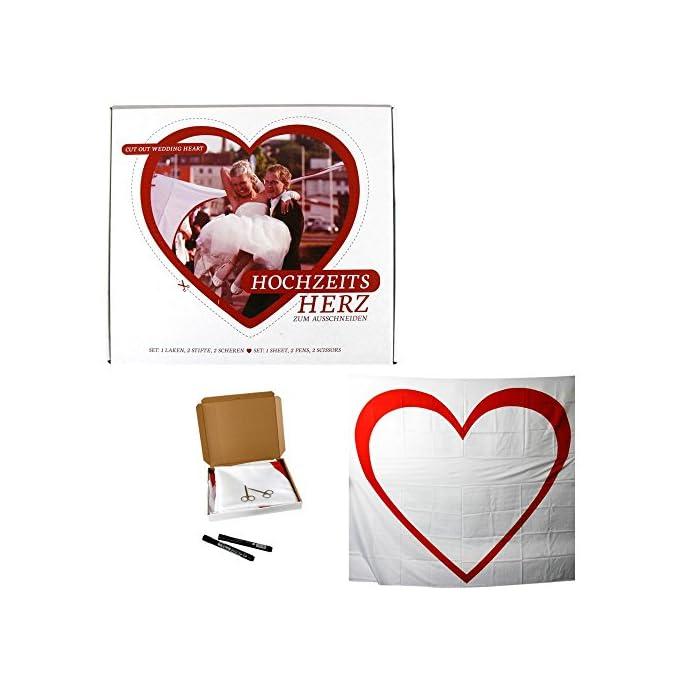 Annastore Hochzeit Herz-Set zum Ausschneiden 2 x 1,8 m Laken + Stifte +Scheren Hochzeitsspiel Bettlaken zum Ausschneiden