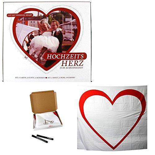 m Ausschneiden 2 x 1,8 m Laken + Stifte +Scheren Hochzeitsspiel Bettlaken zum Ausschneiden (Herz Zum Ausschneiden)