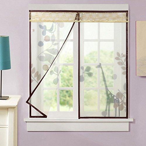 Silk road anti zanzare tenda bug, magnete in velcro zanzariera invisibile magnete di garza di schermo di finestra per la camera da letto cucina salotto giardino sul retro-marrone 110x150cm(43x59pollici)