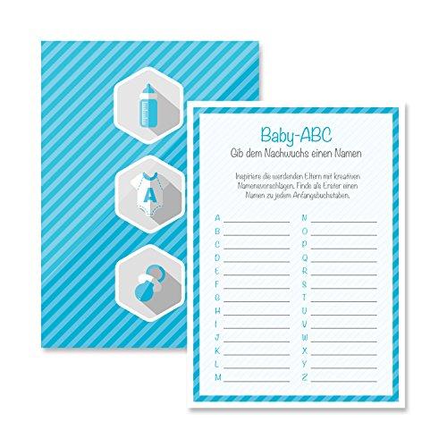 Babyparty Baby Shower Spiel-Set 8 Stück Baby-ABC junge blau Partyspiel Quiz Spiel Deko Party Karte Geschenk Spielkarte Artikel von Mia-Félice Decorations