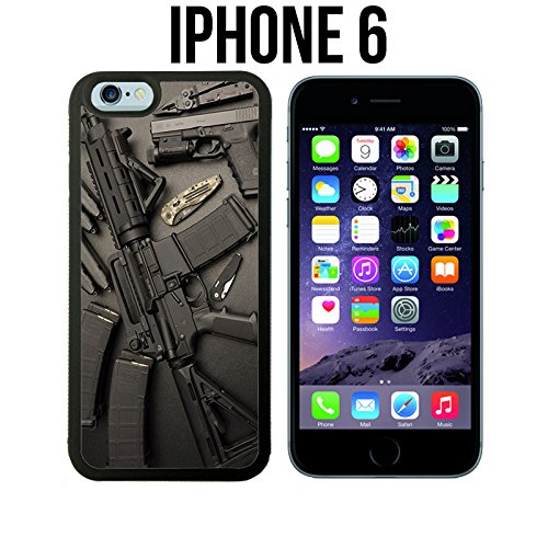 Nice Waffen Gewehr Guns Munition Custom Made Case/Cover/Haut für iPhone 6 - Schwarz - Gummi Fall (Schiffe aus ca) (Iphone 6 Sprint Schwarz)