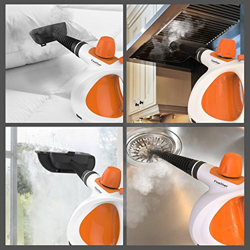 Finether Handdampfreiniger Tragbarer Dampfreiniger mit 3,2 Bar Reinigungs inkl. 9 Zubehör 350 ml Wassertank | Dampfgerät für Küche Bad Arbeitsflächen Boden Fenster Autositze Polster Matratze Vorhänge - 5