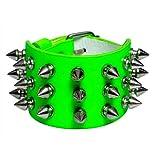 Blue Banana 3 Row Small Spikes Studded Wristband (Green)