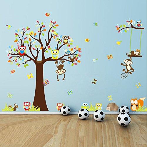 ufengke® Cute Cartoon-Eulen Eichhörnchen Affe Schönen Baum Wandsticker, Kinderzimmer Babyzimmer Entfernbare Wandtattoos Wandbilder, Satz Von 4 Blatt