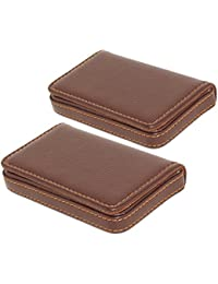 2 Pack Leather Visiting Card Holder For Keeping Business Cards, Debit Cards, Credit Cards ID Cards And More