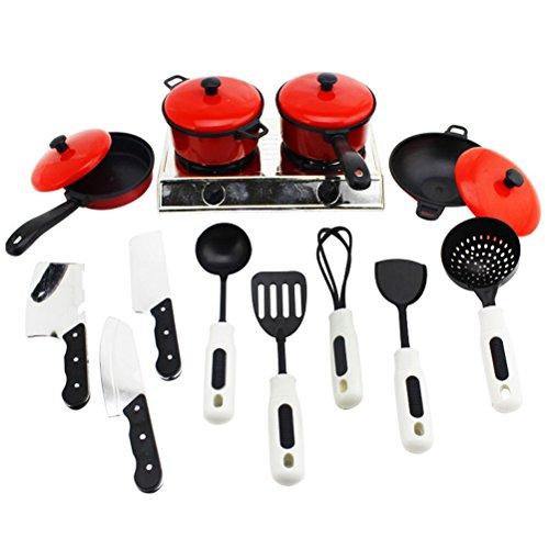 TOYMYTOY 13pcs Juego de utensilios de cocina de juguete para niños