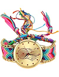 Reloj de mujer SMARTLADY Vintage Dreamcatcher Amistad Ajustar Trenzado Relojes (A)