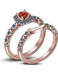 Lilu Jewels Juego de anillos de boda de princesa Merida con piedras preciosas multicolor chapado en