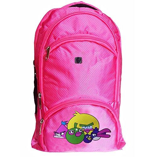 Rose Bud Angry Birds Cartoon Print Stylish Pink Color (10-15 Lts/13 inch/4-6 years) 5 Compartment Shoulder Strap Padding Polyester Backpack School Bag for Nursery and Junior School Girls and Boys Students (Doraemon, Chota Bheem, Ben 10, Barbie, Motu Patlu, Cinderella Princess, Sponge Bob, Honey Bunny, Subway Surfers, Micky Mouse, Bugs Bunny, Tweety, Goofy, Tom, Jerry, Donald duck, Snow White etc)  available at amazon for Rs.425