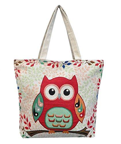 Eule Eulentasche Shopper Strandtasche mit 1 Fach und Reißverschluss*** MIT SÜSSEM EULENMOTIV*** Umhängetasche - VINTAGE LOOK / absolut cool und stylish -