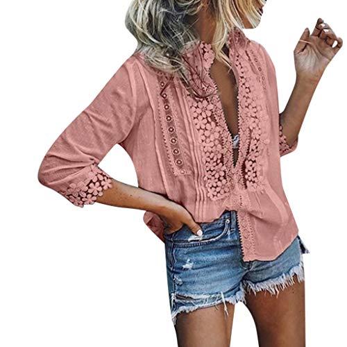 NPRADLA Frauen T-Shirt BeiläUfige Lange HüLse Spitze Patchwork Damen Tops Bluse (Bestickt Western Shirt Vintage)