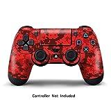 PlayStation 4 PS4 Designfolie Controller Sticker - Aufkleber Schutzfolie Skin für Sony Playstation DualShock 4 Wireless Controller - Digicamo Red
