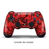 PS4 Controller Design Folie Aufkleber Sticker Skin fur Sony PlayStation 4 DualShock Wireless Controller - Digicamo Red -