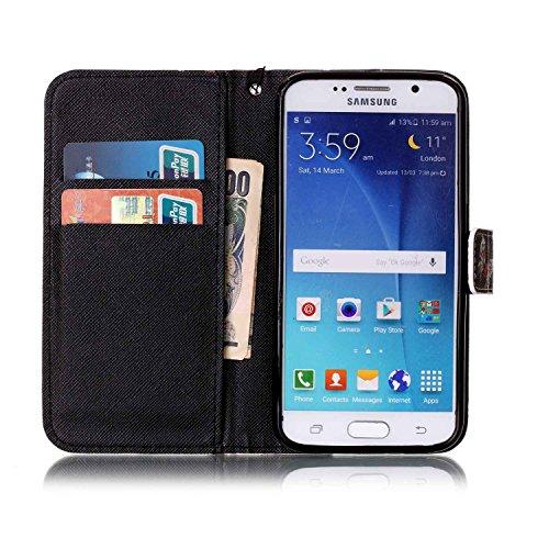 für Smartphone Samsung Galaxy S6 Hülle, Klappetui Flip Cover Tasche Leder [Kartenfächer] Schutzhülle Lederbrieftasche Executive Design +Staubstecker (5II) 3