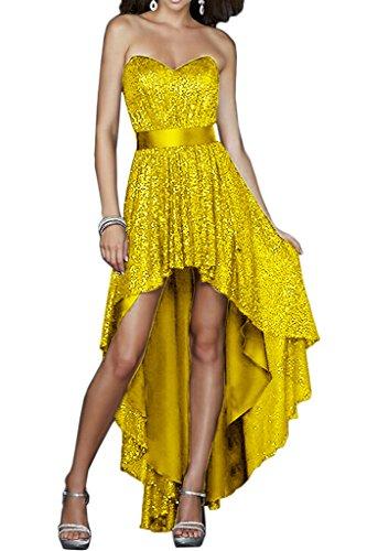 Promgirl House Damen Attraktive Pailletten Hi-Lo A-Linie Cocktailkleider Party Abendkleider Ballkleider Lang Gelb
