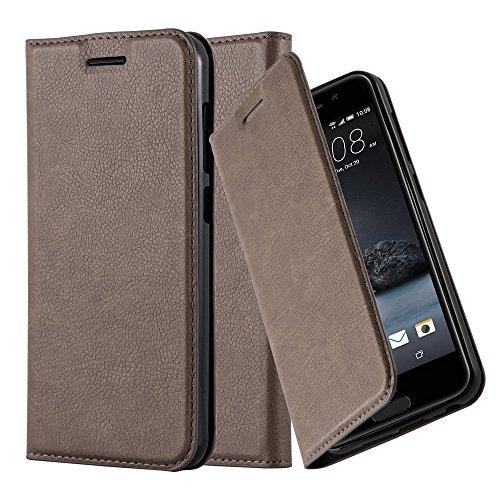 Cadorabo Hülle für HTC ONE A9 - Hülle in Kaffee BRAUN – Handyhülle mit Magnetverschluss, Standfunktion und Kartenfach - Case Cover Schutzhülle Etui Tasche Book Klapp Style