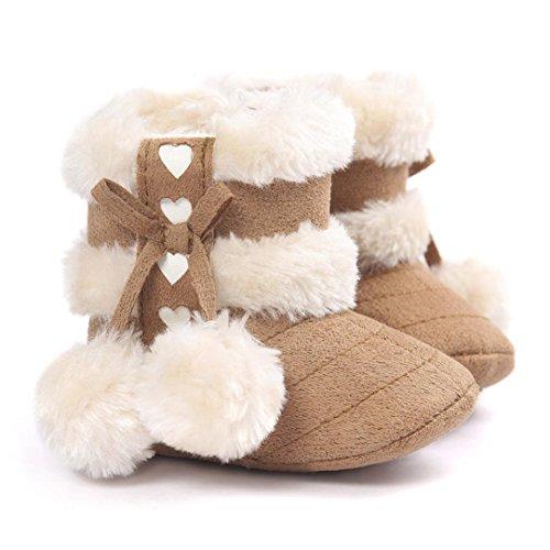 WOCACHI Baby weiche Sohle Schnee Aufladungen weiche Krippe schuhe Kleinkind Aufladungen (13cm, Wassermelonenrot) Khaki