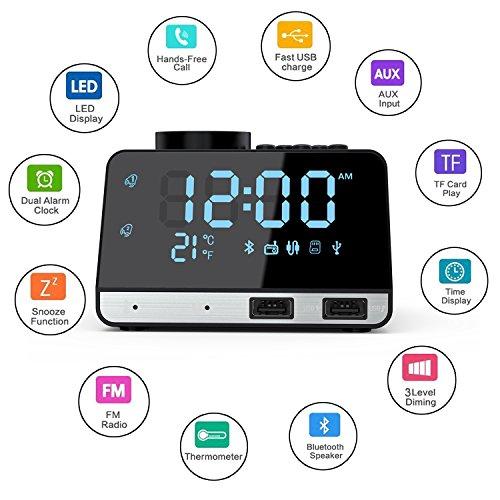 Weixinbuy Radio despertador de Bluetooth Altavoces con despertador doble con 2 puertos de carga USB, repetición, reproducción de tarjeta AUX TF, termómetro, pantalla LED grande regulable (negro)