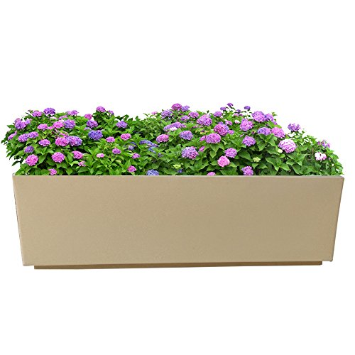 Yuccabe Italia FOX-B Box Tray Railing Hanging Rectangular Beige 24 Inches Planter  available at amazon for Rs.1850