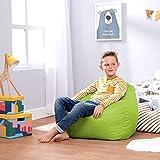 Bean Bag Bazaar® Chaise Pouf Moyen-Grande Taille pour Enfants pour Un Usage intérieur et extérieur de Chaises Pouf pour Enfants - Un Siège Fauteuil pour Enfant (Vert)