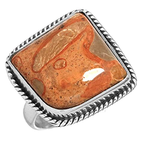 Solide 925 Sterling Silber Designer Schmuck Natürliche Moukite Koralle Jasper Edelstein Ring Größe 49 (15.6)