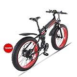HUAERLE Vélo de Montagne électrique de 1000 W, Vélo de Neige avec Pneus épais de 26 Pouces avec Batterie au Lithium Amovible de 48V 12Ah, Vitesse Shimano 21 et écran LCD