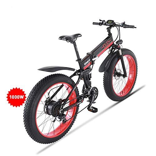 HUARLE 26 Zoll Fettreifen Elektrofahrrad,1000W Faltbares Mountainbike 21 Geschwindigkeit Schnee Fahrrad 48V Abnehmbarer Akku