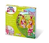 Staedtler 8034 06 LY Fimo kids form&play Set Princess (superweiche, ofenhärtende Knete, kinderleichte Anleitung, wiederverschließbare Box, Set mit 4 Fimo Blöcken, 1 Modellierstab und 1 Spielkulisse)