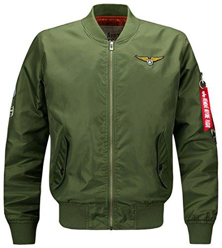 YYZYY Homme Classique Blousons Manteaux vol Air Force Aviateur Bomber MA1 Veste Pilot Flight Jacket Coat 16 couleur XS-4XL B1616-ArmyGreen