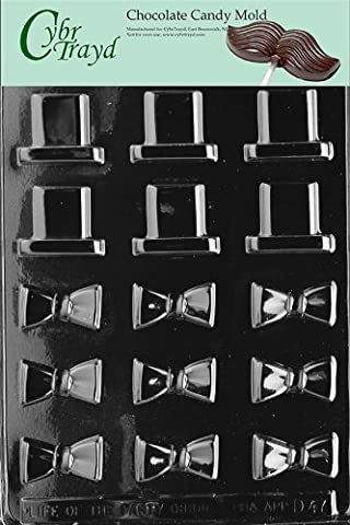 Cybrtrayd D047 B/S Black Tie and Hat Chocolate Candy Mold with Exclusive Copyrighted Chocolate Molding Instructions