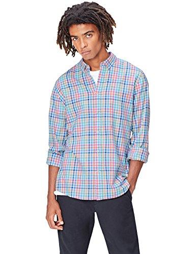 FIND Herren Hemd mit Buntem Karomuster Mehrfarbig (Multicheck)