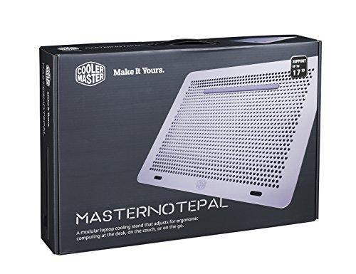 Cooler Master MasterNotepal Notebook-Kühler '2x einstellbare 80mm Lüfter, Sandblasted Aluminium Design, Kompatibel mit bis zu 17 Zoll Laptops' MNX-SMTS-20FN-R1 - Kühler Laptop Master