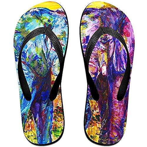 Zapatillas Chanclas Antideslizantes Unisex Sandalias de Playa de Dos Colores Elefante Cool Beach