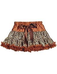 Topwedding Robe de danse pettiskirt tutu jupe de satin Leopard 2 couches fille avec l'arc