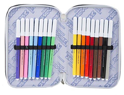 Estuche Escolar 3 Pisos – Seven – Trim – Multi Compartimentos con lápiz, rotuladores, boligrafos… Negro Amarillo