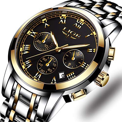Edelstahl Band Herren Uhren Fashion Casual Quarz Business Watch Wasserdicht 30 M mit Chronograph und Kalender Sport Military Luminous Armbanduhr