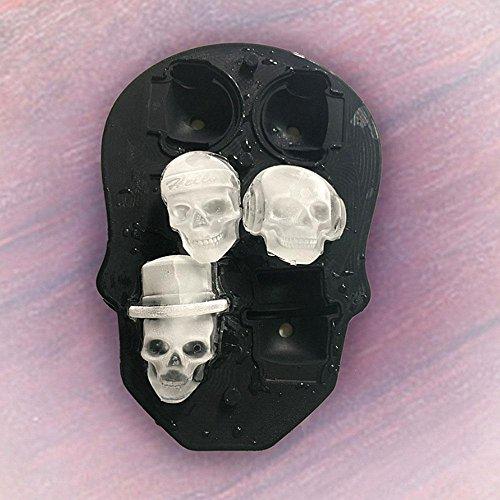 Color Negro Flexible Silicona de Grado Alimenticio Hace 6/Calaveras Redondo Cubo de Hielo para c/óctel de Whisky y Vino AOLVO 3D Calavera Ice Cube bandejas