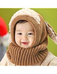 fbad8d3095a22 Xiaoyu bebé niñas niñas bufanda de invierno de invierno pañuelos de lana  bufandas capucha bufandas sombrero