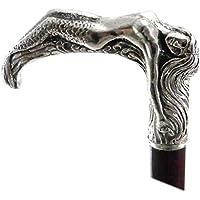 Design Cavagnini Bastone da passeggio sirena Metallo e Legno elegante colore argento vintage per uomo e per donna ortopedico per camminare Cavagnini Made in italy