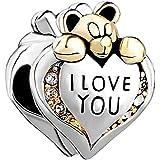 I Love You con colgante de corazón de plata de ley oso de peluche de cuentas de cristal con piedra natal de abril compatible con joyas Pandora, Chamilia
