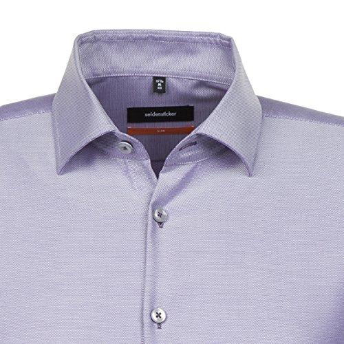 Seidensticker Herren Businesshemd Slim Langarm türkis uni mit Kent-Kragen lila (0084)