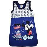 Disney Baby- und Kinder- Sommer-Schlafsack ÄRMELLOS Baumwolle, UNGEFÜTTERT, Mickey Mouse GR 56-62, 68-74, 80-86, 92-98, 104-110 Farbe Blau, Größe 104/110