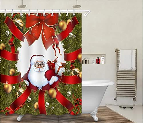 SillyXLL Weihnachtsmann Mit Brille Duschvorhang Wasserdicht Und Mildewproof 3D Gedruckt Badezimmerzubehör 180x180 cm Mit 12 Haken
