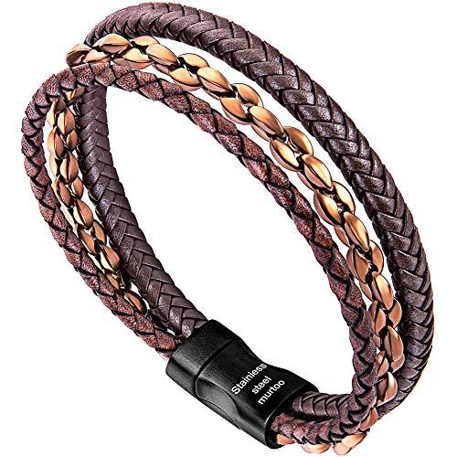 Murtoo bracciale uomo acciaio braccialetto pelle e pietra naturali con chiusura magnetica pacco regalo (marrone vintage, bronzo)