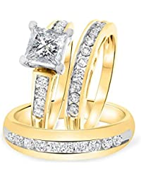Silvernshine 1.50 Ct Princess Cut Diamond 14k Yellow Gold Fn .925 Bride & Groom Set Trio Ring