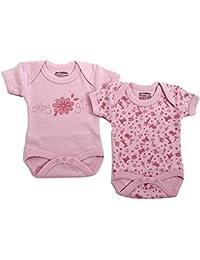 Baby Girls 2 Bodysuits Cotton Vests Pink (0-3 Months)