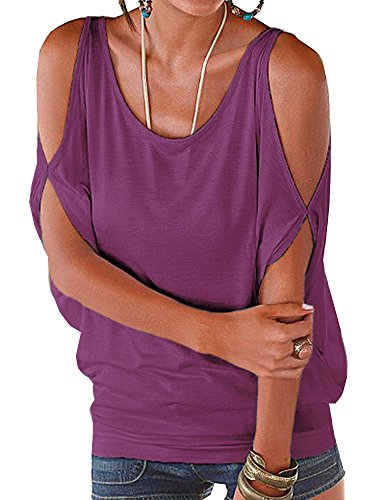 Elevesee Women's Off the Shoulder Shirring Drape Top Purple XXX-Large
